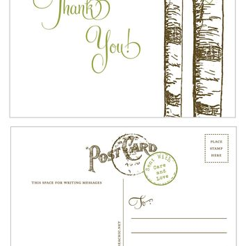 Birch Aspen Tree Thank You Postcards in Brown and Leaf Green - 10 pack