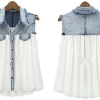Denim Chiffon Blouse