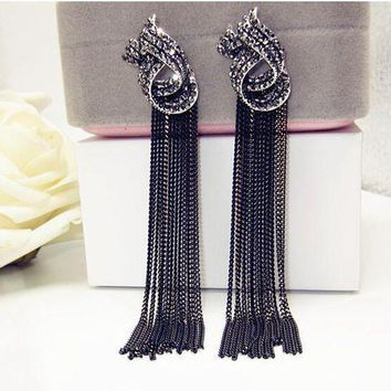 ESBONFI Luxury Rhinestone Vintage Tassel Earrings Drop Earring For Women Party Jewelry Black Chains Long Dangle Earrings