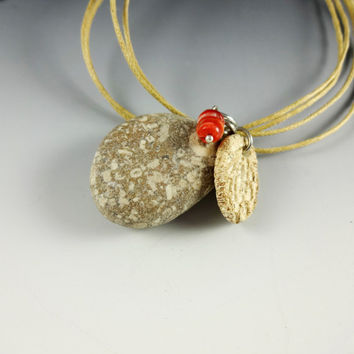 Jewelry Pendant Fossil Beach Stone Porcelain Charm Spiny Oyster