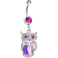 Double Pink Eccentric Owl Dreamcatcher Charm Dangle Belly Ring | Body Candy Body Jewelry