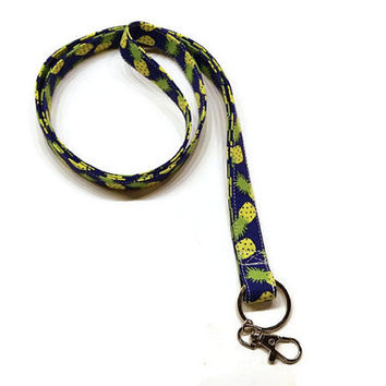 Cute pineapples fabric lanyard keychain personalized. Add an matching id holder. pineapple gift idea. teacher lanyard.  lanyard necklace.