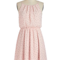 ModCloth Pastel Mid-length Spaghetti Straps A-line Lots of Dots Dress