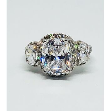 A Flawless 5CT Oval Cut Halo Russian Lab Diamond Ring