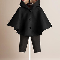 Check Detail Wool Hooded Cape