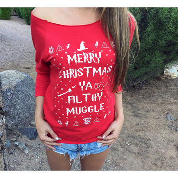 Womens Wide Neck Sweatshirt. Red Harry Potter Sweater. Filthy Muggle Shirt. Harry Potter Merry Christmas Ya Filthy Muggle Off The Shoulder.