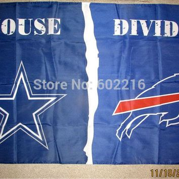 DALLAS COWBOYS vs BUFFALO BILLS 3x5 FEET Flag Banner HOUSE DIVIDED Large Outdoor Team Flag 3ft x 5ft Football Hockey USA Flag