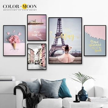 COLORMOON Pink Paris Tower Girl Flower Nordic Canvas Art Print Landscape Posters And Prints Wall Pictures For Living Room Decor