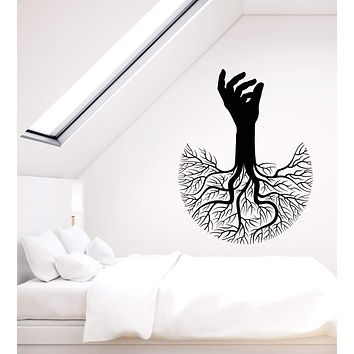 Vinyl Wall Decal Abstract Tree Of Life Hand Branch Roots Stickers (2996ig)