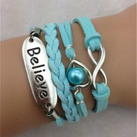 Infinity Heart Believe Turquoise Leather Bracelet