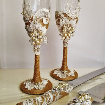 Personalized Wedding Gles And Cake Server Set Cutter Rustic Toasting Flutes