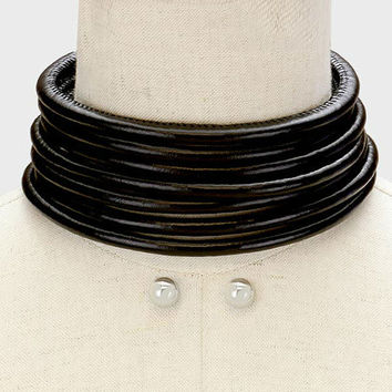 Silver & Black Multi Row 7 Row Round Strand Leather Choker Necklace with Magnectic Closure and Earring Set