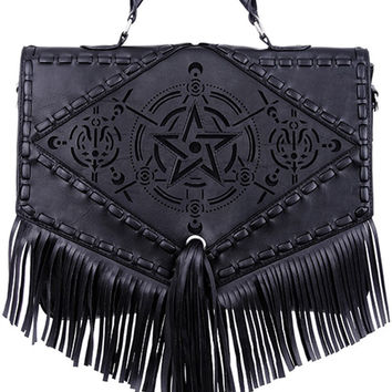 Gothic Gypsy Witch Dark Magic Pentagram Design Satchel Bag with Fringes