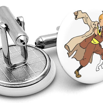 Tintin Adventures White Cufflinks