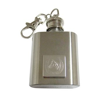 Silver Toned Etched Horse and Horse Shoe 1 Oz. Stainless Steel Key Chain Flask