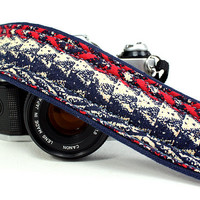 OOAK Camera Strap,Tribal, Native, dSLR or SLR, Red, Indigo, Navy Blue, Cream, Quick Connect
