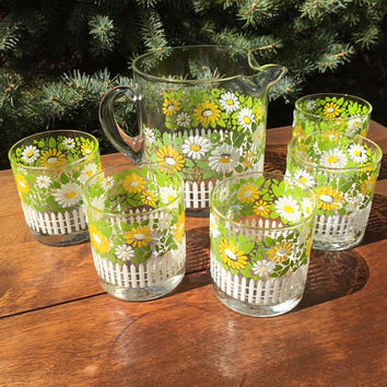 Vintage 70s Libbey Country Garden Daisy Amber Tall Tumbler Glasses Set of Eight