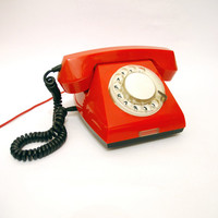 Red Rotary Phone, Vintage Telephone, Soviet Rotary Phone, Retro Decoration Item For Home or Office, Table Phone