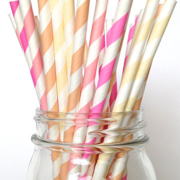 Pink ombre paper straws, Pink ombre party decor, Pink baby shower straws, pink bachelorette straws, classic striped straw for soda fountain