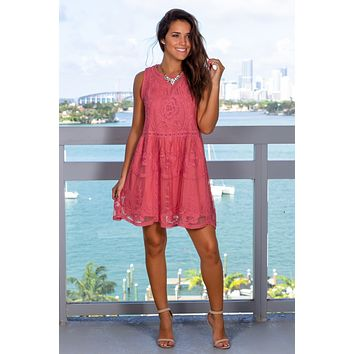 Dark Salmon Embroidered Short Dress