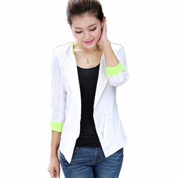 Spring Autumn Women Blazer Lady Suit Jacket Female Coat Business Office Uniform Blaser White/Blue Cardigan Femme Feminine 2016