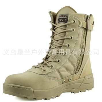 men solid lace-up high combat zipper warm soft desert boots