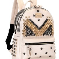 Beige Stud Detail Backpack