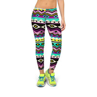 Workout Leggings Aztec Mayan & Assorted Print Stretch Spandex