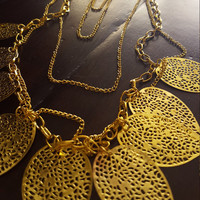 Long chain statement necklace Gold plated and Silver necklace layered necklace