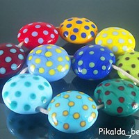 Handmade Lampwork Glass 10 Beads Set--COLORFUL DOT--SRA | pikalda - Jewelry on ArtFire