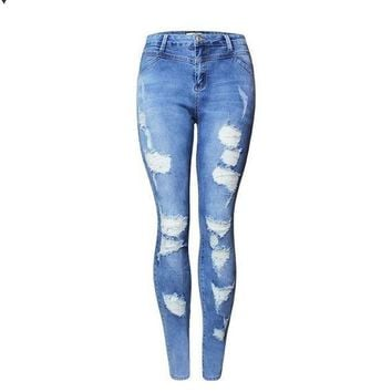 VONEFC2 Hot Fashion Ladies High Waist Jeans Cotton Denim Pants Stretch Womens Bleach Ripped Skinny Jeans For Female