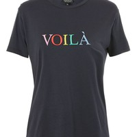 PETITE 'Voila' Embroidered Slogan T-Shirt