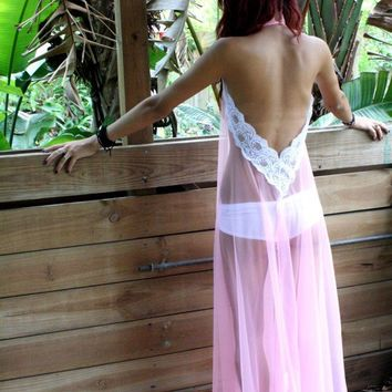 Backless Nightgown Halter Bubblegum Pink Sheer Nylon Full Swing Honeymoon Bridal Wedding Lingerie