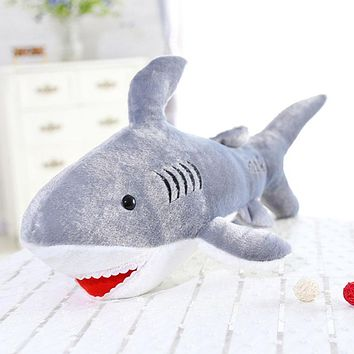High quality 1 Pcs Hot Sale Cute Stuffed Animal Doll Big Soft Plush Toy Marine Animal Short Plush Shark