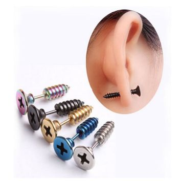 Punk Style Stainless Steel 5 Colors Stud Earrings Men's Punk Ear Jewelry Rock Gothic Unisex