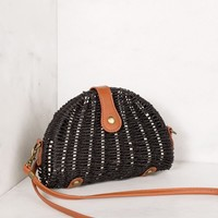 On Vacay Black Woven Crossbody Purse