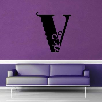 Floral Monogram - V - Wall Decal$8.95
