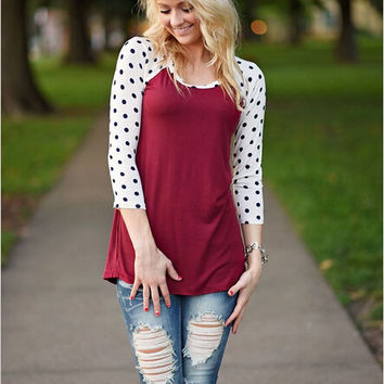 Burgundy And white Polkadot Sleeve Shirt