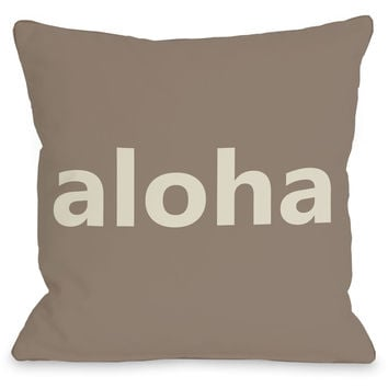 """Aloha"" Indoor Throw Pillow by OneBellaCasa, 16""x16"""