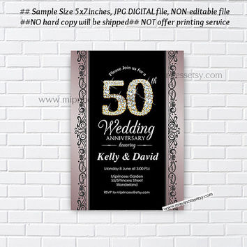 Anniversary Invitation, Wedding Anniversary Invitation 10th 20th 30th 40th 50th 60th 70th glam elegant glitter design  - card 403