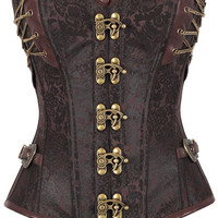 Plus Size XXL Woman Sexy 14 Steel Bone Steampunk Custom Made Corset with Thong LC50015 Vintage Gothic Latex Waist Cincher