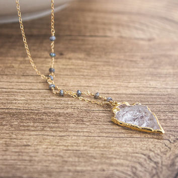 14K Gold Filled Crystal Arrowhead Necklace- Labradorite Beaded Chain