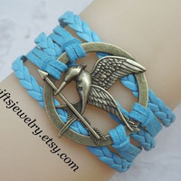 Burning Girl,mocking,bird,jay bracelet,hunger bird,games bracelet,blue bracelet,Leather Bracelet,Friendship Gift