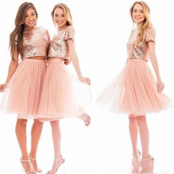 2017 Sparkly Blush Pink Sequins Bridesmaid Dresses Customized Cheap Short Sleeve Plus Size Junior Two Pieces Wedding Guest Dress