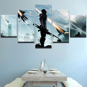 Modular Picture Home Decor Print Canvas Wall Art Poster 5 Panel Shooting Battle Game Photo Living Room Oil Painting Frame PENGDA