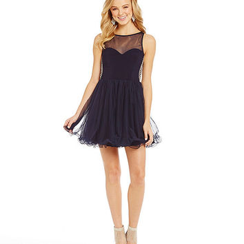 Blondie Nites Pearl Draped Back Party Dress | Dillards
