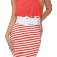 Slammed (Coral/White)-Great Glam is the web's best online shop for trendy club styles, fashionable party dresses and dress wear, super hot clubbing clothing, stylish going out shirts, partying clothes, super cute and sexy club fashions, halter and tube to