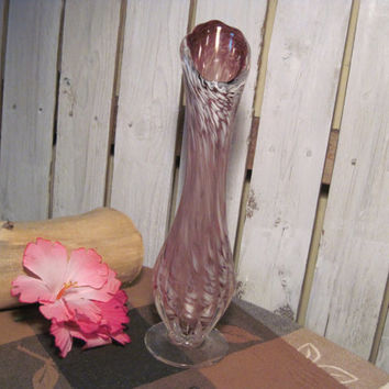 Beautiful Vintage Glass Bud Vase, Possibly Murano Glass, Hand Blown, Pink Tones