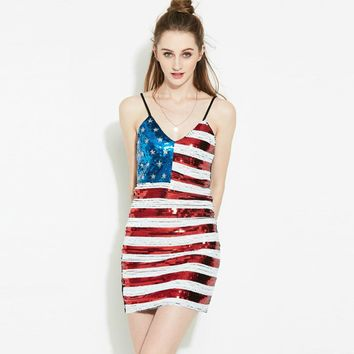 American Flag Sexy Women American Flag Sequin V-Neck Dress