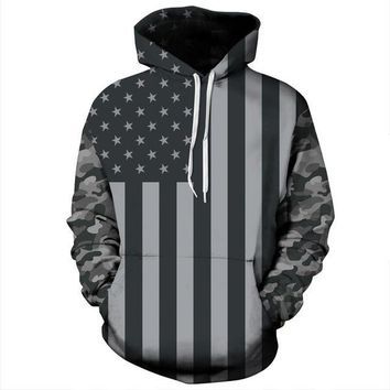 American Flag Hoodie Men's Women's 3d Pullover Stars and Stripes USA